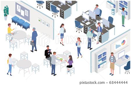 在辦公桌前工作的人們工作橫幅圖等距 68444444