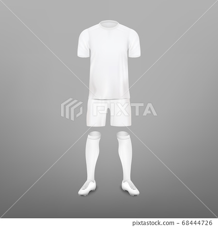 Soccer player clothes kit - realistic mockup set. 68444726