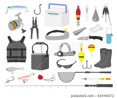 魚捕魚設備插圖素材集 68446872