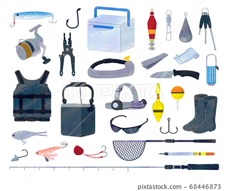 釣魚工具的插圖素材集/模擬風格 68446873