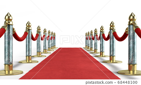 red carpet for event 3d render on white 68448100