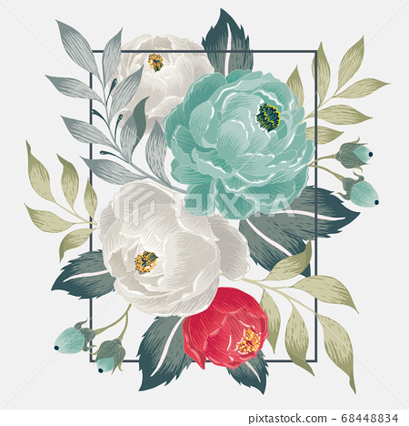 Vector illustration of a floral frame in spring 68448834
