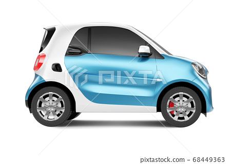 Side view of eco blue concept car on white background 68449363