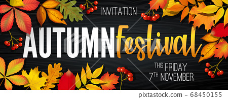 November autumn festival announcement, invitation banner with fallen leaves 68450155