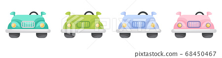 Collection of cute cartoon baby's cars isolated on white background. Set of cars of different colors for design of kid's rooms clothing textiles album card invitation. 68450467