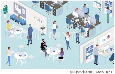 Illustration of an office that takes measures against infections New normal working people Isometric 68451074