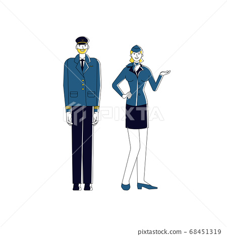 Airplane captain and stewardess. Isolated on white 68451319