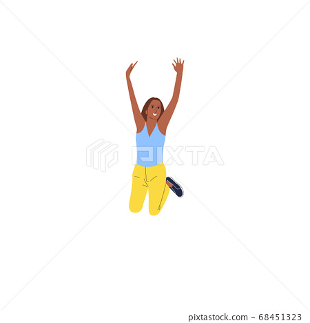 Cheerful indian girl jumping in joy. Isolated on 68451323