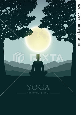 yoga for body and soul meditating person silhouette by full moon 68451420