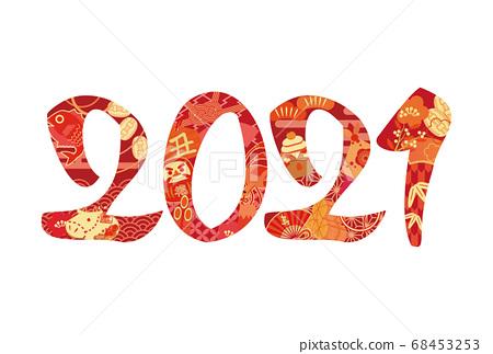 新年賀卡新年賀卡2021基督教時代幸運物品紅色 68453253