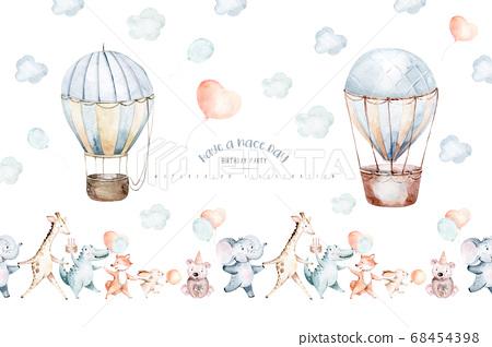 Cute cartoon air balloons birthday party illustrations. hand drawn baby shower air balloon. kids nursery wear fashion design, birthday invitation card. 68454398