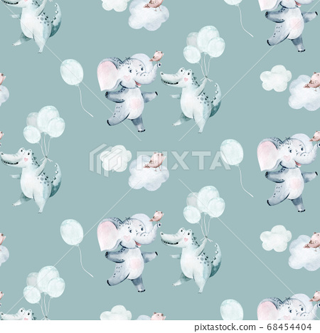 Watercolor seamless tropical pattern with dancing elephant and crocodile african jungle animals on white background. Childish Africa animal illustration. Happy birthday,celebration concept. 68454404