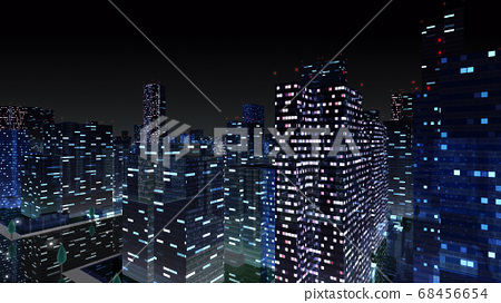 City night city building buildings city office building business district office district 3d illustration background back 68456654