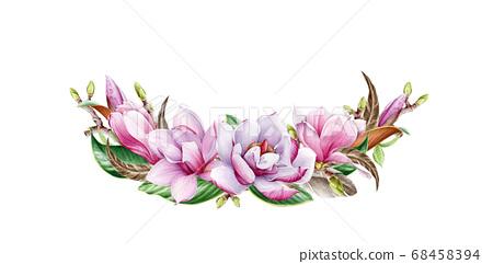 Magnolia flower arrangement watercolor image. 68458394