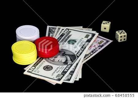 Gambling Chips Money and Dice on Black Background 68458555