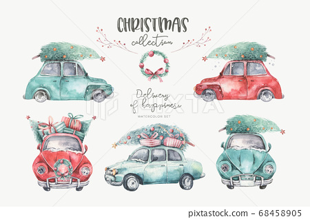Watercolor christmas holiday seamless pattern with red and green transportation illustration. Merry Xmas auto winter design. Hand painted New year retro vintage cars wallpaper background fabric 68458905
