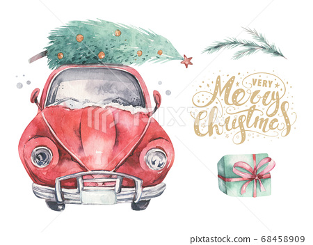 Watercolor christmas holiday card transportation illustration. Merry Xmas winter tree design. Hand painted New year retro vintage cars 68458909