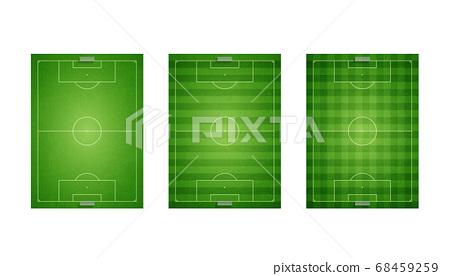 一組帶有損壞紋理的扁平綠色足球場 68459259
