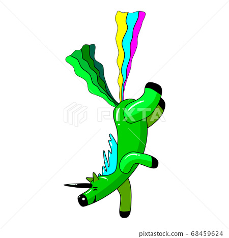 Unicorn smiling pooping a rainbow, fantasy cute character beast multicolored shit turd. Vector illustration isolated cartoon style 68459624