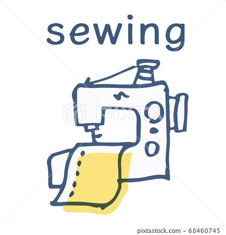 縫紉機和布文字 68460745