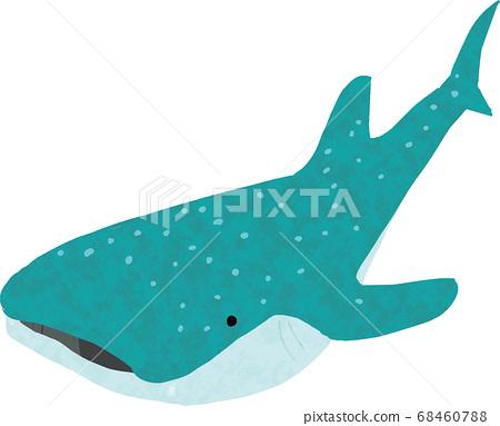 可愛的鯨鯊手寫材料 68460788