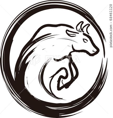 新年2021年牛年水墨畫水墨畫插圖素材 68461120