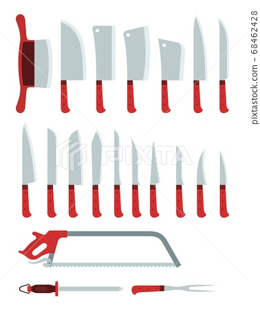 Different knives, hatchets and a saw, for cutting, chopping various products vector illustration 68462428