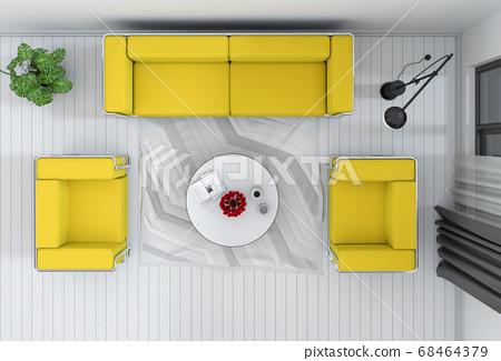 top view of interior living room. 3D render 68464379