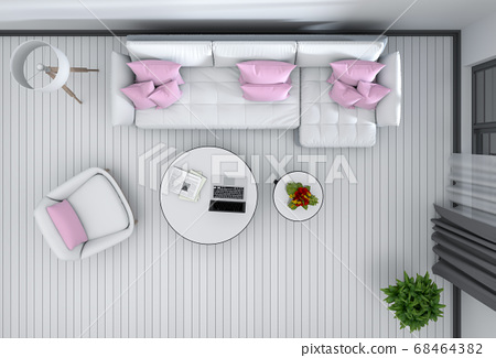 top view of interior modern living room. 3D render 68464382