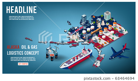 Modern isometric of Alaska oil and gas industry concept with Offshore crude extraction, transportation,  refinery plant, fuel tanker ship rail tanks. Easy to edit and customize. Vector illustration 68464694