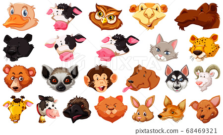 Set of different cute cartoon animals head huge 68469321