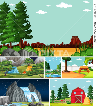 Six different scenes in nature setting cartoon 68469324