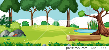 Blank landscape in nature park scene with many 68469333