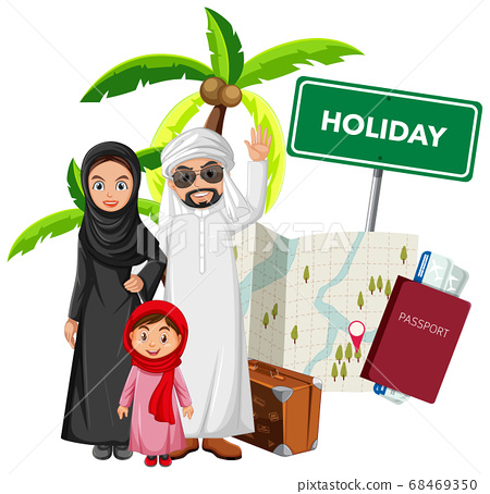 Arab family wearing arab costume with travel 68469350