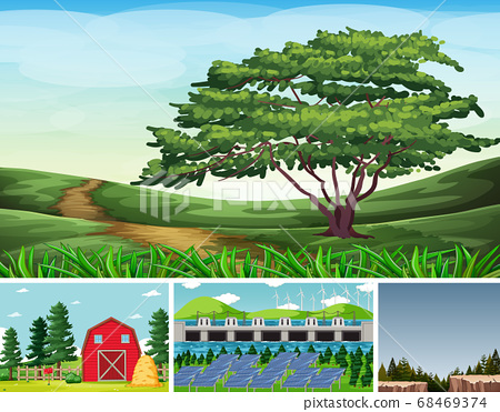 Four different scenes in nature setting cartoon 68469374