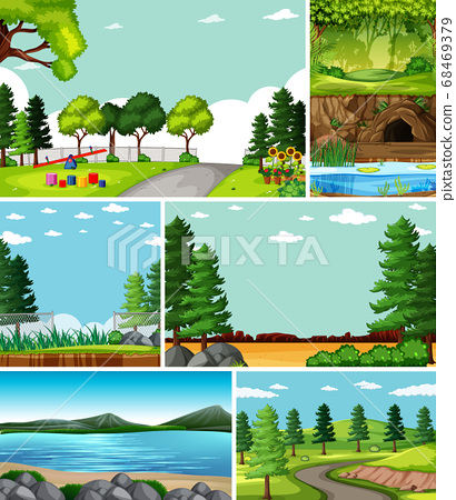 Four different scenes in nature setting cartoon 68469379