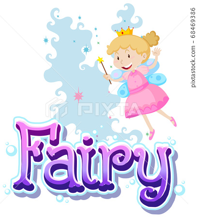 Fairy logo with little fairies on white background 68469386