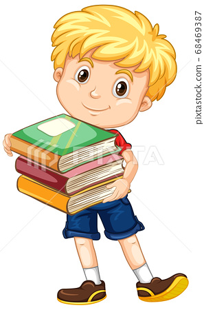 Boy holding book isolated 68469387