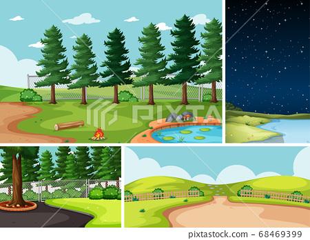 Four different scenes in nature setting cartoon 68469399