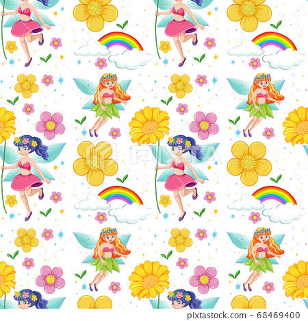 Seamless fairy tales with rainbow and flowers 68469400