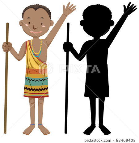 Set of people of African tribes character with its 68469408