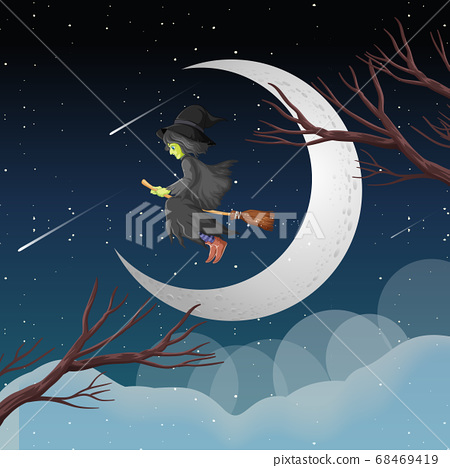 Witch or wizard riding broomstick the sky isolated 68469419