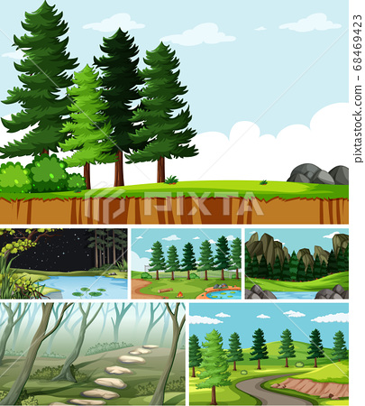 Six different scenes in nature setting cartoon 68469423
