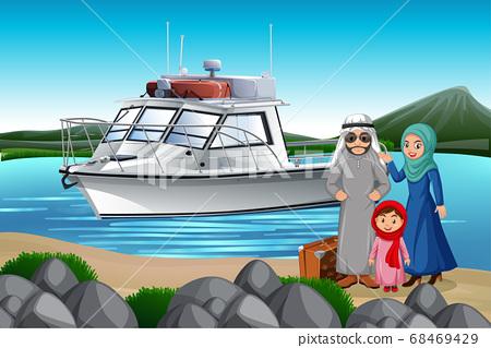 Arabian family on holiday 68469429