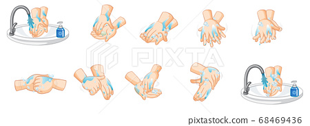 Different steps of washing hands on white 68469436