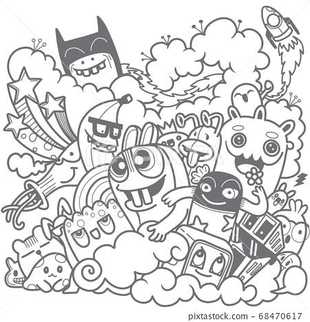 Vector illustration of Doodle cute , Doodle set of 68470617