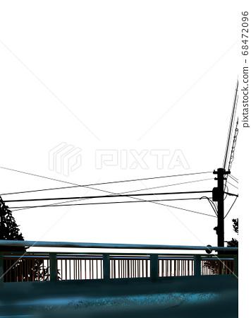 흑백의 기둥과 나무와 오래된 다리의 실루엣 68472096