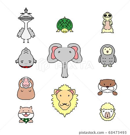 簡單可愛的動物的動物臉分類 68473493