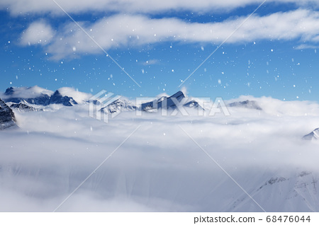 High snowy mountains covered with beautiful 68476044