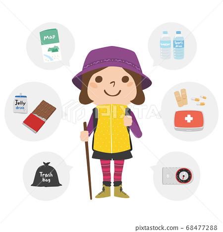 一名婦女的例證用上升的設備。檢查您的物品,例如地圖和巧克力。 68477288